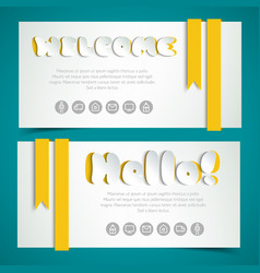salutatory cards in paper style vector image
