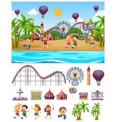Scene background design with kids at funfair vector