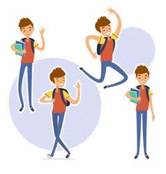 school boy set in flat cartoon character vector image