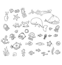 sea creatures collection childrens vector image