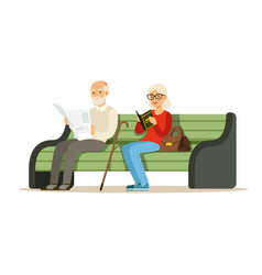 seniors sitting on a wooden bench and reading vector image