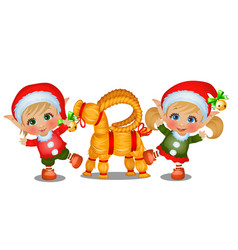 Set girl and boy santas helpers with straw vector