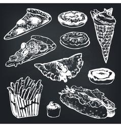 Set of fast food Hamburger donut ice vector image
