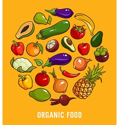 Set of organic food vector image