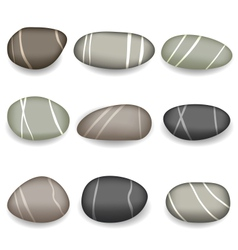 Set sea pebbles with shadows on white background vector