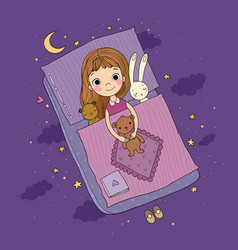 Sleeping girl baby in bed with toys time vector