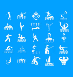 Sportsman icon blue set vector
