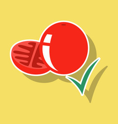 Sticker tomato isolated on background vector