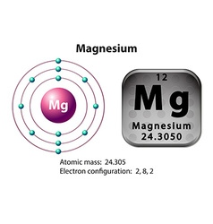 Symbol and electron diagram for Magnesium vector