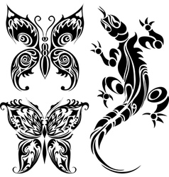 Tattoo drawings butterflies and lizard vector