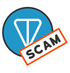 Ton scam label flat icon vector