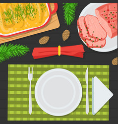 top view holiday festive table christmas table vector image