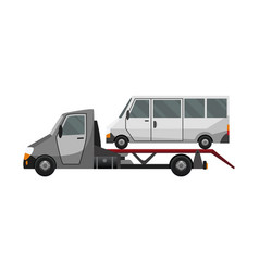 tow truck flat faulty car loaded on a truck vector image