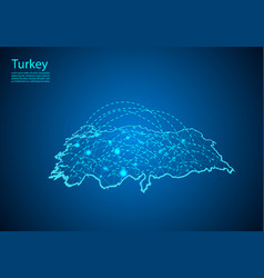 Turkey map with nodes linked by lines concept of vector