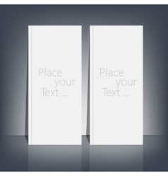 Two white blank stationary near the black wall vector