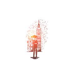 united kingdom england tower rain britain vector image