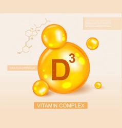 Vitamin d3 complex and molecular diagram vector