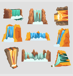 Waterfalls set cascading streams of various shape vector