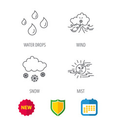 Weather snow and rain icons moon night vector
