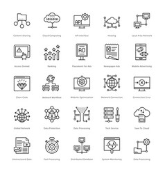Web and seo line icons 56 vector
