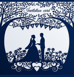 wedding invitation card with silhouette bride vector image