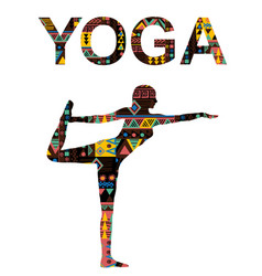 Yoga background with woman practicing lord vector