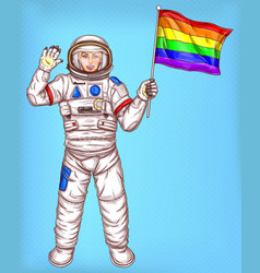 Young astronaut girl with rainbow flag vector