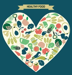 Background of Healthy Food icons set vector image vector image