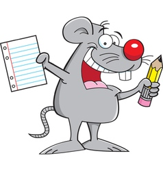 Cartoon Mouse Holding a Paper and Pencil vector image vector image