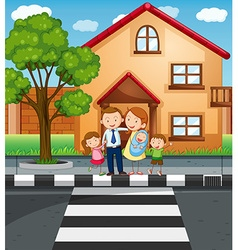 Family members standing in front of the house vector image vector image