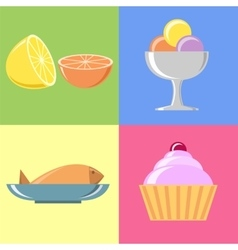 Flat Food and Icons set vector image vector image