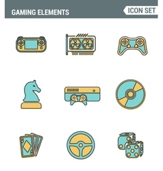 Icons line set premium quality of classic game vector image vector image