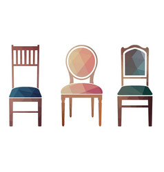 set of colorful retro chairs vector image