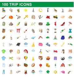 100 trip icons set cartoon style vector image
