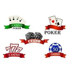 Casino and gambling emblems or symbols vector image vector image