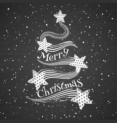 chalk abstract christmas tree on blackboard vector image