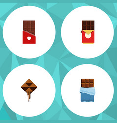 Flat icon sweet set of delicious chocolate bar vector