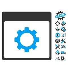 Gear Options Calendar Page Icon With Bonus vector image vector image