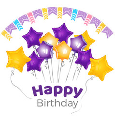 happy birthday greeting on banner with star shaped vector image vector image