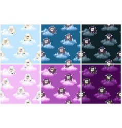 seamless pattern with cute funny sheeps on sky vector image