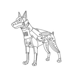 Steam punk style doberman dog coloring book vector