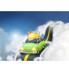 Traveling by car in the clouds background vector image vector image