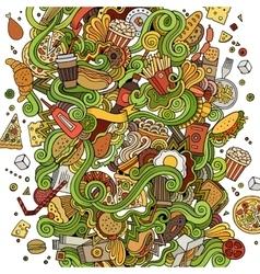 Cartoon cute doodles hand drawn Fastfood vector image vector image