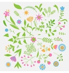 Set of cute Flowers vector image