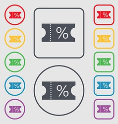 ticket discount icon sign symbol on the Round and vector image vector image