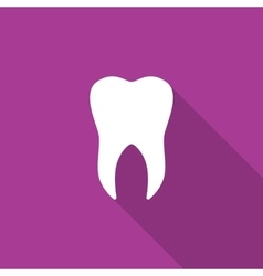 Tooth icon with long shadow vector image vector image