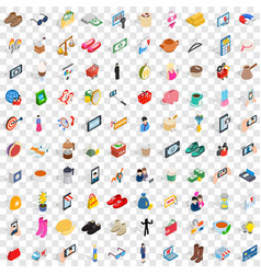 100 female icons set isometric 3d style vector