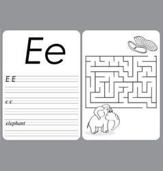 alphabet a-z - puzzle worksheet - cute elephant vector image vector image
