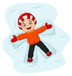 Cartoon little boy lying on the snow vector image vector image