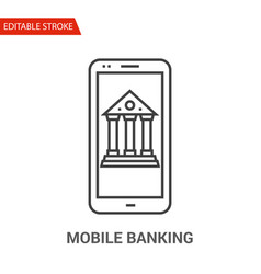 mobile banking icon thin line vector image